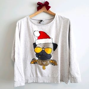 H&M Grey Holiday Graphic Sweater